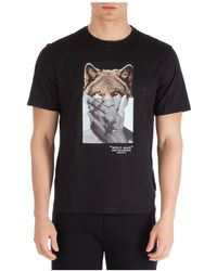 Neil Barrett Men's Short Sleeve T-shirt Crew Neckline Jumper Wolf-man - Black