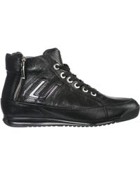 Cesare Paciotti Women's Shoes High Top Leather Trainers Trainers - Black