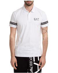 EA7 Men's Short Sleeve T-shirt Polo Collar - White