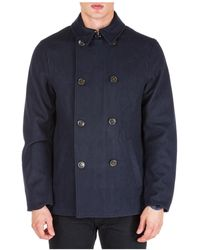 Michael Kors Men's Double Breasted Coat Overcoat - Blue