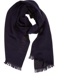 Emporio Armani Wool Scarf - Blue