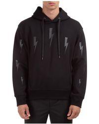 Neil Barrett Men's Hoodie Sweatshirt Sweat Halo Bolts - Black