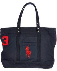 Polo Ralph Lauren Men's Bag Handbag Tote Shopping Canvas Aviator - Blue