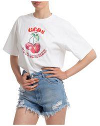 Gcds Women's T-shirt Short Sleeve Crew Neck Round - White