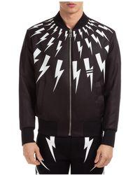 Neil Barrett Men's Outerwear Jacket Blouson Reversibile Graffiti & Thunderbolt - Black