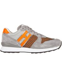 Hogan Rebel Boys Shoes Child Sneakers Suede Leather R261 Allacciato - Grey