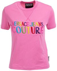Versace Jeans Couture Women's T-shirt Short Sleeve Crew Neck Round - Pink
