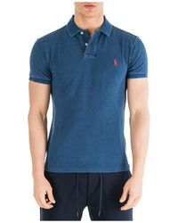 Ralph Lauren Men's Short Sleeve T-shirt Polo Collar - Blue