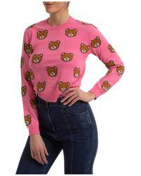 Moschino Women's Sweater Sweater Crew Neck Round Teddy - Pink