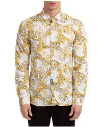 Versace Jeans Couture Men's Long Sleeve Shirt Dress Shirt Baroque - White
