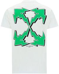 Off-White c/o Virgil Abloh T-shirt maglia maniche corte girocollo uomo bolt arrow - Bianco