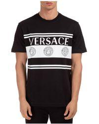 Versace Men's Short Sleeve T-shirt Crew Neckline Jumper Logo - Black