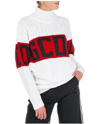 Gcds Dolcevita collo alto maglione maglia donna - Bianco