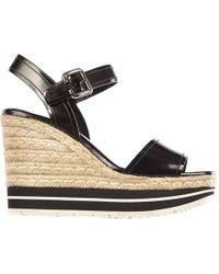 Prada Women's Leather Shoes Wedges Sandals Corda - Black