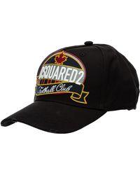 DSquared² Cappello berretto regolabile uomo in cotone baseball d2 football club - Nero