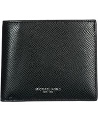 Michael Kors Men's Genuine Leather Wallet Credit Card Bifold Bifold Harrison - Black