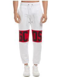 Gcds Men's Sport Tracksuit Trousers Band Logo - White
