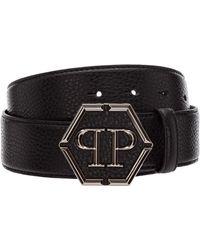 Philipp Plein Men's Genuine Leather Belt Hexagon - Black