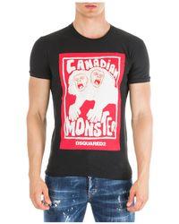 DSquared² T-shirt maglia maniche corte girocollo uomo - Nero