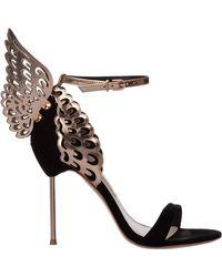 Sophia Webster Women's Leather Heel Sandals Evangeline - Black
