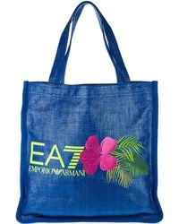 EA7 Handbag Shopping Bag Purse Beach Straw - Blue