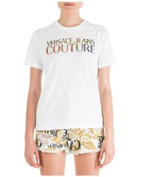 Versace Jeans Couture Women's T-shirt Short Sleeve Crew Neck Round Flower - White