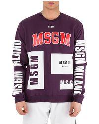 MSGM Men's Sweatshirt Sweat - Purple