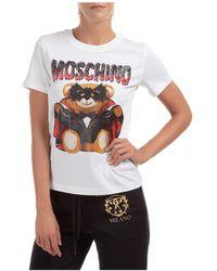 Moschino Women's T-shirt Short Sleeve Crew Neck Round - White