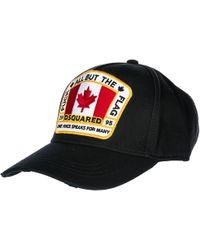 DSquared² Cappello berretto regolabile uomo in cotone canada patch baseball - Nero