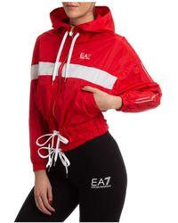 EA7 Giubbotto giubbino donna cappuccio - Rosso