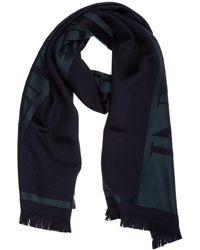 Emporio Armani Men's Wool Scarf - Blue