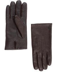 Emporio Armani Men's Leather Gloves - Brown