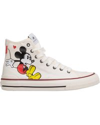 MOA Women's Shoes High Top Sneakers Sneakers Disney Mickey Mouse - White