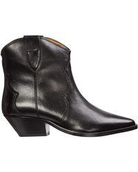 Isabel Marant Dewina Western Leather Ankle Boots - Black