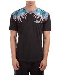 Marcelo Burlon Men's Short Sleeve T-shirt Crew Neckline Sweater Sea Snail - Black