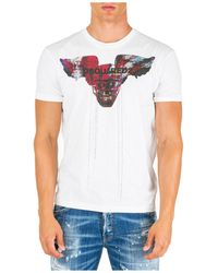 DSquared² - Printed Round Neck Cotton T-shirt - Lyst