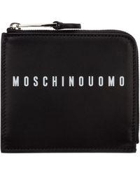 Moschino Men's Genuine Leather Credit Card Case Holder Wallet - Black