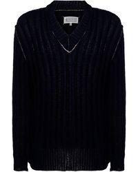 Maison Margiela Men's V Neck Sweater Sweater Pullover - Blue