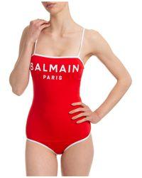 Balmain Costume da bagno intero donna mare - Rosso
