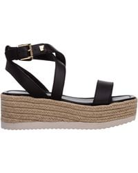 Michael Kors Women's Leather Shoes Wedges Sandals Lowry - Black