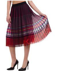 Karl Lagerfeld Women's Skirt Knee Length Midi - Red
