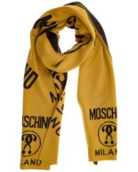 Moschino Men's Wool Scarf Double Question Mark - Yellow