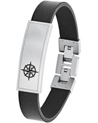 "S.oliver Armband ""Ident Kompass"" Edelstahl und Leder 2026134 - Schwarz"