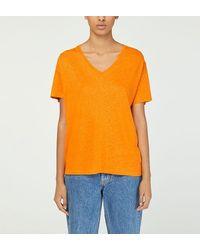 Nice Things T-shirt droit col V teneur lin - Orange