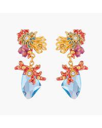 Les Nereides Boucles D'oreilles Tiges Corail Et Cristal Bleue Lagon - Multicolore