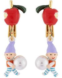 N2 Boucles D'oreilles Clip Petite Pomme, Nain Et Perle - Rouge