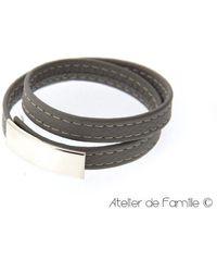 Atelier de Famille Bracelet cuir sellier et plaque Argent massif - Gris
