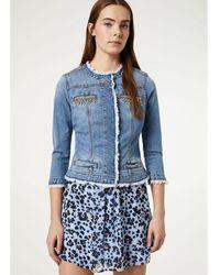 Liu Jo Veste en jean avec pierres - Bleu