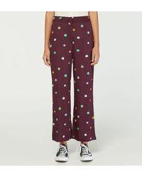 Nice Things Pantalon Capri fluide droit fantaisie - Multicolore