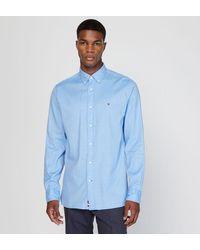 Tommy Hilfiger Chemise droite en coton dobby stretch - Bleu